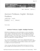Ahc Assistant Professor, English Fall 2019