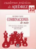 (Cuadernos PráCticos De Ajedrez 10.) Gude, Antonio Combinaciones De Mate 128 Ejercicios TemáTicos Para Un Entrenamiento Estructurado Tutor (2008)